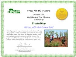 Certificato Prestashop - Tremila alberi piantati